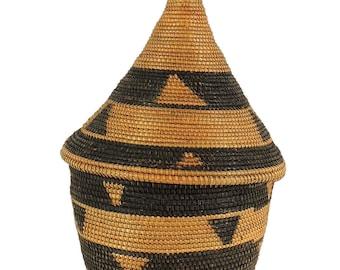 Tutsi Basket Lidded Tight Weave Rwanda Old African Art 112806