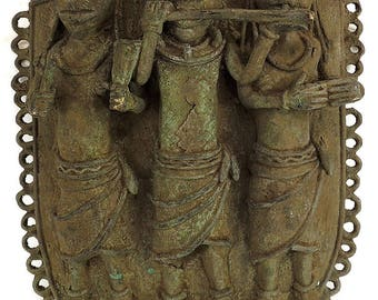 Edo Benin Plaque with 3 Court Attendants Musicians African Art 73591