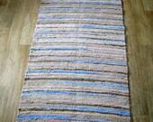 Hand woven rag rug 2.3 feet by 5.24 feet(70cm x 157cm)  flax, blue ,ready for sale