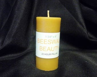 100% Pure Beeswax 4 Inch Pillar Candle