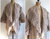 Vintage 1980s Hand Woven Knit Coccoon Sweater Shawl Poncho 80s Boho