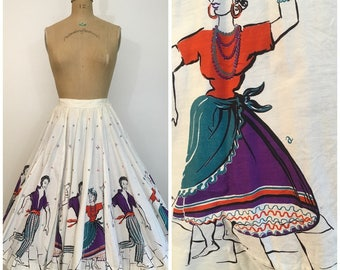 Vintage 1950s Novelty Mambo Panel Skirt Border Print Fabric 50s Circle Skirt