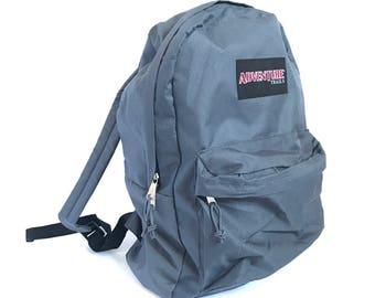 90s GREY adventure color block  BACKPACK adventure school KNAPSACK book bag nylon