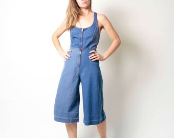 90s BLUE denim jean JUMPER overall OXFORD faded overall 60s 70s