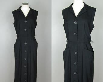 Vintage Linen Dress. 50s Linen Dress. 60s Linen Dress. Black Linen Dress. Black Sleeveless Wiggle Dress. Mid Century. Size Medium Large