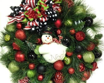 "CHRISTMAS IN JULY Snowman Wreath Christmas Holiday Winter Xl 27"" Red White Black Lime Green Indoor Outdoor Shatterproof Ornaments"