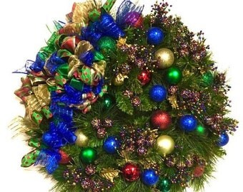 """FLASH SALE Bright Wreath Modern Green Red Blue Gold Double Pine Wreath Large  27"""" SHATTERPROOF Ornaments Very Full Indoor Outdoor"""