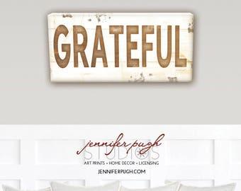 Farmhouse Grateful I 8x18 Art Print  - Vintage, Farmhouse, Word Art, Kitchen, Home, Wall Decor -Brown, White