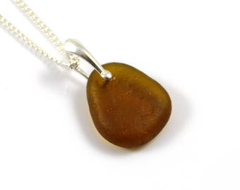 English Sea  Glass Toffee on Sterling Silver Necklace DEVIN
