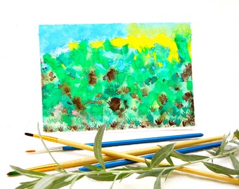 Abstract Art Original Watercolor Card, Unusual Abstract Wall Art, Unique Forest Walk Earthy Colors Yellow Green Blue Brown Tabletop Art Card
