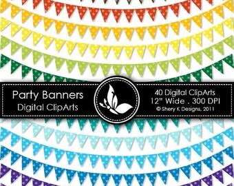 "40% off Party Banners Clip Art - 40 Digital clip art - 12"" wide - 300 DPI"