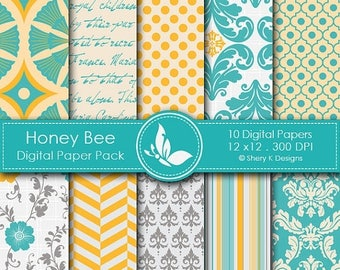 40% off Honey Bee Paper Pack - 10 Digital papers - 12 x12 - 300 DPI