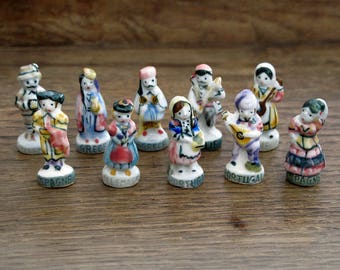 10 French Feves Porcelain Glazed- Villagers Townspeople Traditional Costume Attire - Figurines King Cake Baby Doll House Miniatures