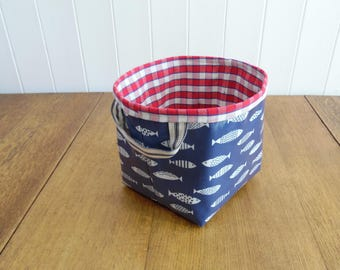 Fish Print Oilcloth Small Storage Basket Bin-checked cotton lining