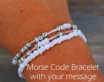 Beaded Bracelet, Wrap Bracelet, Personalized Gift for Her, Personalized Jewelry, Morse Code Jewelry, Boho Bracelet, Boho Jewelry, BFF Gift