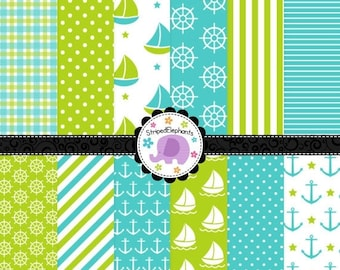 40% OFF SALE Blue and Lime Nautical Digital Paper Pack, Nautical Digital Scrapbook Paper, Nautical Digital Backgrounds, Commercial Use