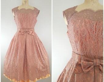 Vintage 1950s Dress / Rose Lace / Cocktail Dress / Medium