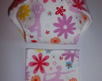 Baby Doll Diaper/wipe - pretty dancers, flowers - adjustable for many dolls such as bitty baby