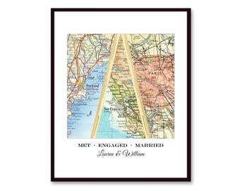 Unique Wedding Gift for Couple, Engagement, Anniversary Gift, Personalized Map Art, Bridal Shower Gift - Met Engaged Married - 3 Cities