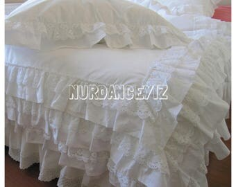 Full Queen King ruffle duvet cover- white ivory 3 rows cotton lace ruffle trim + 3 rows ruffled SHABBY chic bedding -bridal romantic bedding