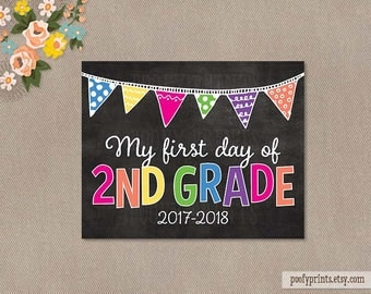 First Day of 2nd Grade Chalkboard Printable Sign - 8 x 10 Printable First Day of Elementary School Sign - INSTANT DOWNLOAD - 505