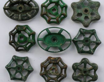 Valve handles- 9 Shabby Chic -Green Patina-Garden Spigot Handles-shipping special- Water Knobs-Funky Metal Handles