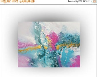 ON SALE Original Abstract Painting  Turquoise Pink Gold Aqua Painting - Honesty - 30 x 40 - Skye Taylor