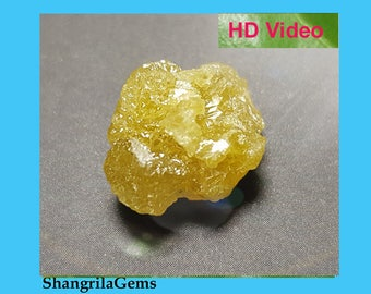 10.6ct 15mm Yellow raw rough diamond crystal ethical conflict free 15 by 12 by 9.5mm