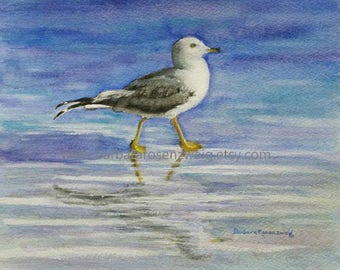Seagull Painting, Seagull Art Print, Seagull Beach Decor, Coastal Art, Seagull Watercolor, Seagull Wall Art, Bird Wildlife Art, Nautical Art