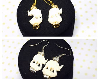 Elephant Earrings, choose Silver or gold Tone, Clear Rhinestones,  Animal Figural, Vintage inspired Made in the USA, Item No. L063