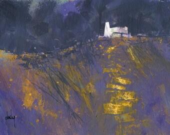 Original moorland cottage painting by Paul Bailey: Llwybr oren