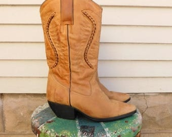 Birthday Sale Vintage Cowgirl Boots Size 7, Leather Western Boots
