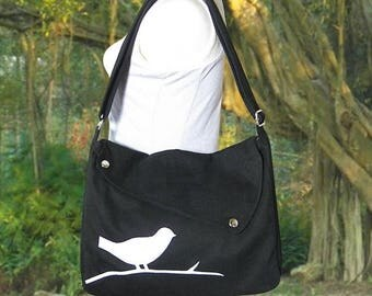 On Sale 20% off wholesale canvas bags / black cotton canvas cross body bag / diaper bag / hand bag / messenger bag with bird sewn on it