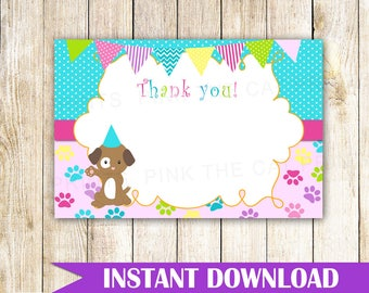 Puppy Thank You Card Puppy Thank You Note Pawty Thank You Card Pawty Thank You Note Birthday Pawty Greeting Card Pink Teal INSTANT DOWNLOAD