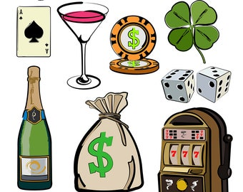 Vegas Clipart, Vegas Clip Art, Slot Machine Clipart, Champagne Clipart, Money Bag Clipart, Dice Clipart, Poker Art, Digital Download