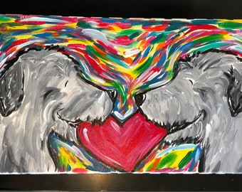 "whimsical irish wolfhound 20x10 original canvas ""Love"""