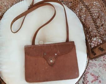 Vintage leather purse, boho leather bag, small leather travel purse,leather cross body purse, vintage field note satchel, cross body boho