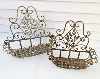 Vintage Wrought Iron Planter | Iron Plant Hanger | Wrought Iron Basket | Iron Hanging Planter – Set of 2