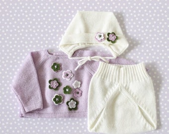 ON SALE Preemie outfit, baby sweater, knitted diaper cover, bonnet, knitted baby set, lilac, off white, green, 100% Merino, preemie.