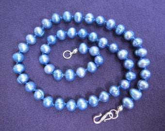 Denim Blue Cultured Pearl Necklace Hand Knotted with Sterling Silver