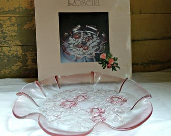 Pink Glass Serving Dish / Mikasa Rosella Serving Platter / Vintage Mikasa Platter  / Pink Fluted Glass Serving Dish / Pink Depression Glass
