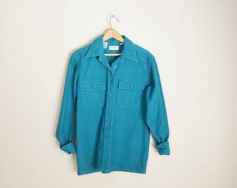 Summer SALE - 20% off - Vintage 80s ll bean teal turquoise chamois cloth shirt -- womens medium/large
