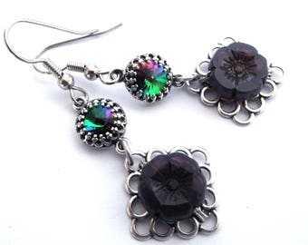 Set crystal filigree earrings with violet flower, dark rainbow colorful rhinestone, antiqued silver, vintage style dark colored jewelry