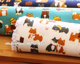 m347_55 - shiba inu fabrics- dogs fabrics - cotton linen fabrics  ( 3 color to choose) in Half Yard