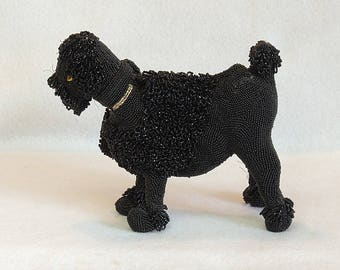 Vintage Wolburg Mid Century Black Beaded Poodle Dog Purse.. Hand Made In Belgium