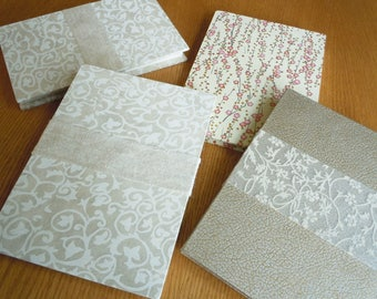 White Vines and Flowers 6x8 Accordion Fold BFK Alternative Guest Book Photo Album Sketchbook with Deckle Edge