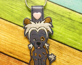In The Hoop Chinese Crested Dog Key Fob Embroidery Machine Design