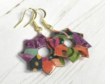 Bright Bold Floral Rings Origami Earrings