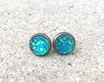 Teal faux druzy studs in bronze setting 8mm