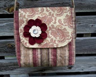 Paisley  crossbody bag, messenger bag, cotton stripe